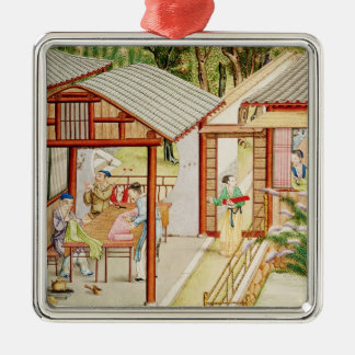 Chinese dressmaker's shop Silver-Colored square decoration