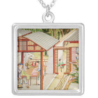 Chinese dressmaker's shop silver plated necklace