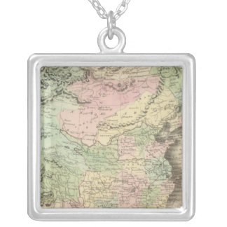 Chinese Empire and Japan Square Pendant Necklace