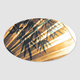Chinese Fan Oval Sticker