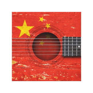 Chinese Flag on Old Acoustic Guitar Gallery Wrapped Canvas
