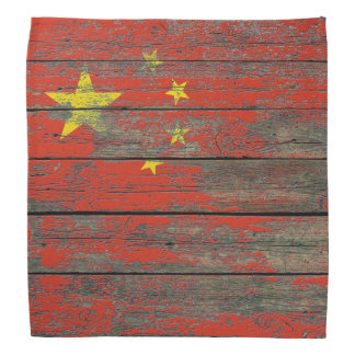 Chinese Flag on Rough Wood Boards Effect Kerchief
