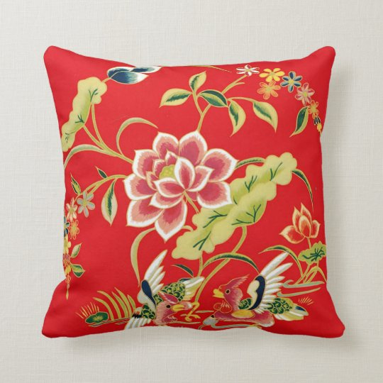 Chinese Floral Embroidery Design Throw Pillow