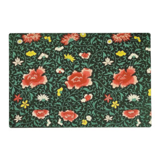 Chinese floral green laminated placemat