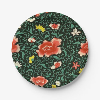 Chinese floral green paper plate