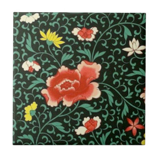 Chinese floral green tile