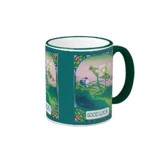 Chinese floral scene ringer mug