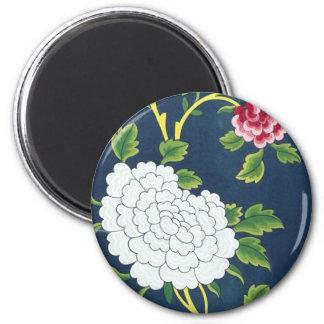 Chinese Flower Design 6 Cm Round Magnet