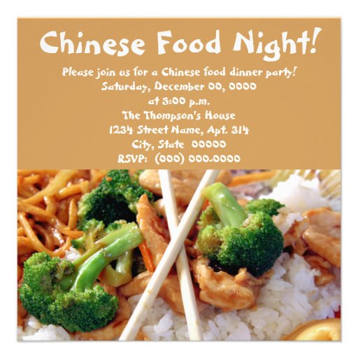 Chinese Food Dinner Party Invitations