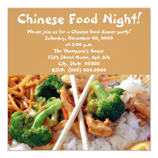 """Chinese Food Dinner Party Invitations 5.25"""" Square Invitation Card"""