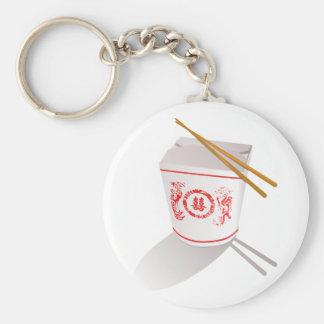 Chinese food take out box chopsticks graphic basic round button key ring