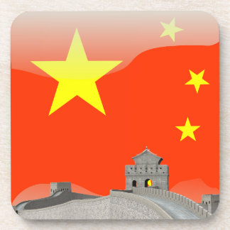Chinese glossy flag coaster