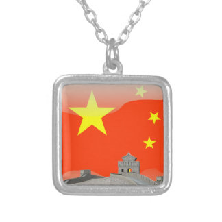 Chinese glossy flag silver plated necklace