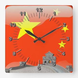 Chinese glossy flag square wall clock
