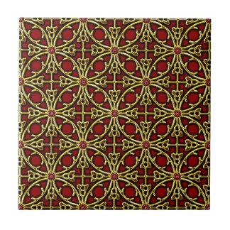 Chinese golden lattice pattern tile