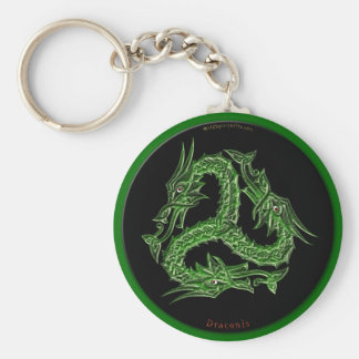 CHINESE GREEN DRAGON Design Basic Round Button Key Ring