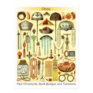 Chinese Hair Ornaments, Rank Badges, and Talismans Postcard