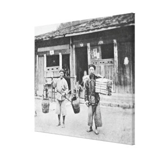 Chinese Hawkers, c.1870 (b/w photo) Canvas Print