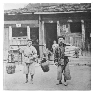 Chinese Hawkers, c.1870 (b/w photo) Large Square Tile