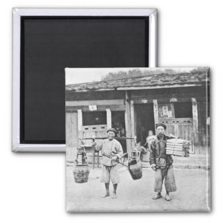 Chinese Hawkers, c.1870 (b/w photo) Square Magnet