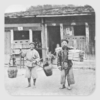 Chinese Hawkers, c.1870 (b/w photo) Square Sticker