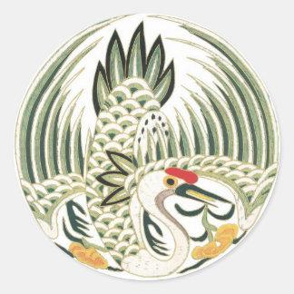 Chinese Heron Folklore Bird Art Round Sticker