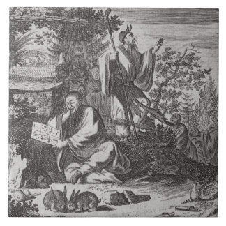 Chinese Holy Men, illustration from a description Large Square Tile