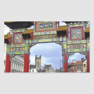 Chinese Imperial Arch, Liverpool UK Rectangular Sticker