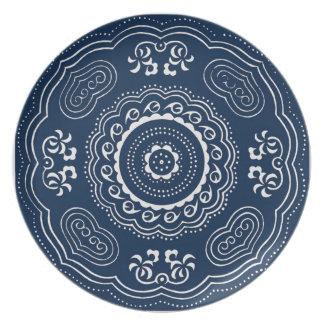 Chinese Indigo Melamine Plate