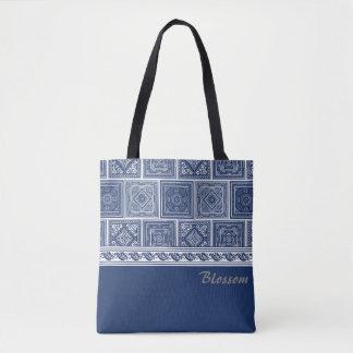 Chinese Indigo Patterns Tote Bag