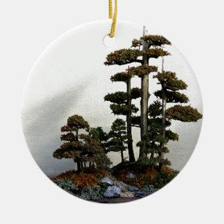 Chinese Juniper Bonsai Trees Round Ceramic Decoration