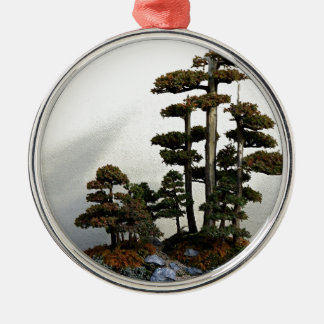 Chinese Juniper Bonsai Trees Silver-Colored Round Decoration
