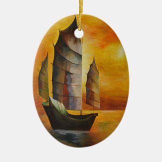 Chinese Junk Ceramic Oval Decoration