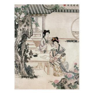 Chinese ladies in a garden postcard
