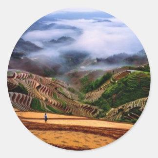 Chinese landscape classic round sticker