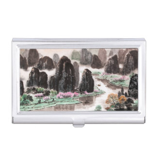 Chinese Landscape Watercolor Business Card Holder