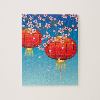Chinese Lantern with Sakura Branch 2 Jigsaw Puzzle
