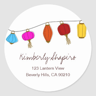 Chinese Lanterns Address Labels Round Sticker