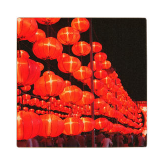 Chinese Lanterns Maple Wood Coaster