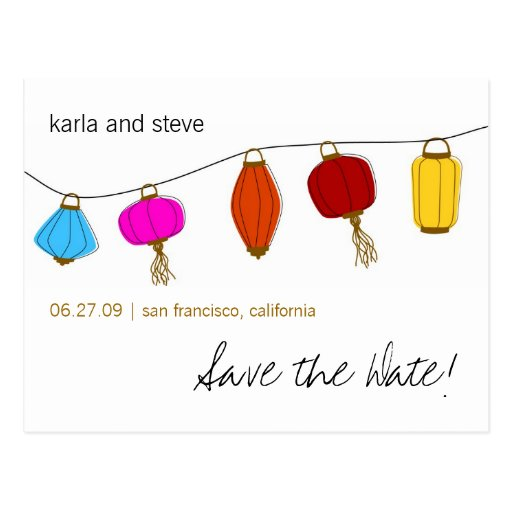 Chinese Lanterns Save the Date Post Card