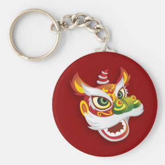 Chinese Lion Head - Red Basic Round Button Key Ring