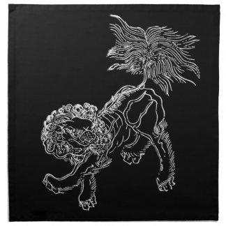 Chinese lion shishi white napkin