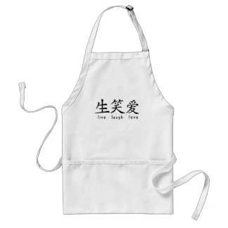 Chinese Live Laugh Love Sign Standard Apron