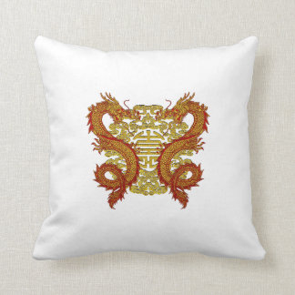 Chinese Longevity Symbol and Dragons Cushion