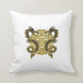 Chinese Longevity Symbol Dragons Cushion