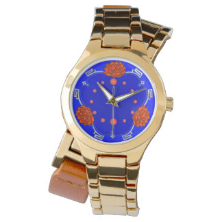 Chinese Lotus Blossom (Red, Royal Blue, Silver) Watch
