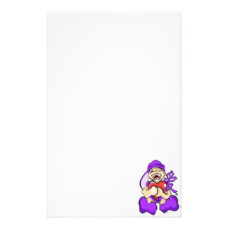 Chinese Love Anime Purple Character Holding Heart Custom Stationery