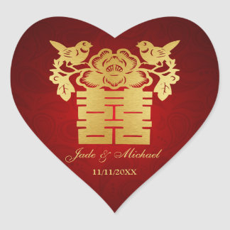 Chinese Love BIrds Double Happiness Wedding Heart Sticker