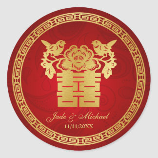 Chinese Love BIrds Double Happiness Wedding Round Sticker