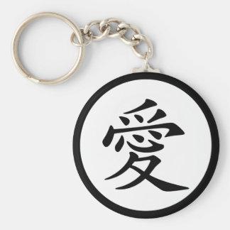 Chinese Love Symbol Basic Round Button Key Ring